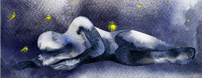 A dark navy blue watercolor painting of a person lying on the floor in the fetal position. Small yellow dots surround the person, giving the picture a space-like quality.