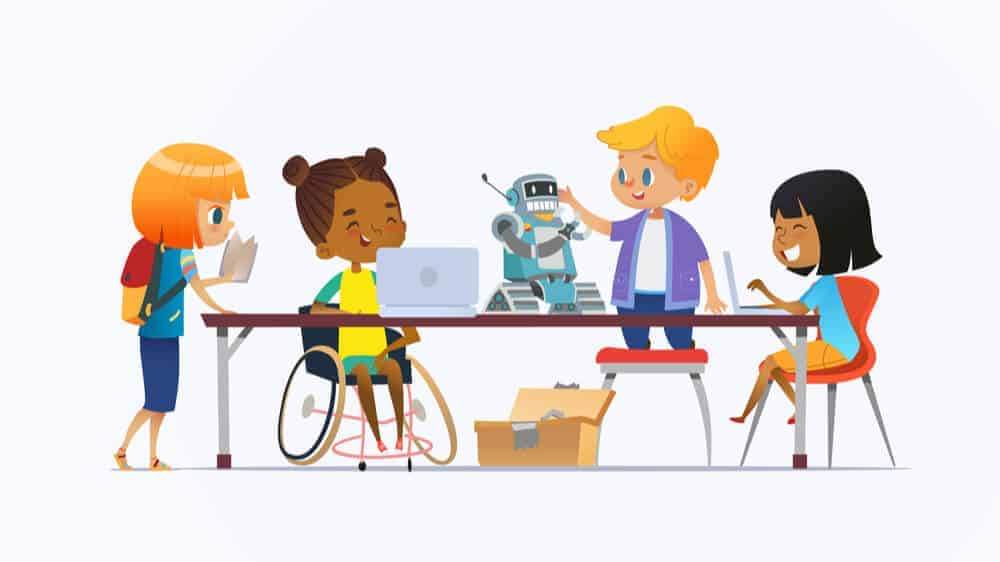 An illustrated group of kids, one using a wheelchair, sitting around a table working on a robotics project together.