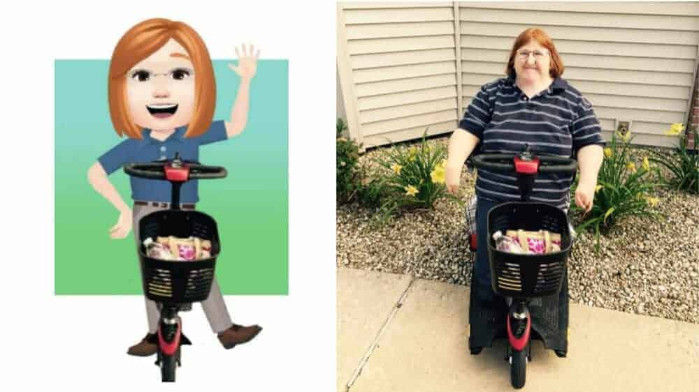 A side by side image of Melissa's Facebook avatar and an actual photo of her, as described in the blog post.