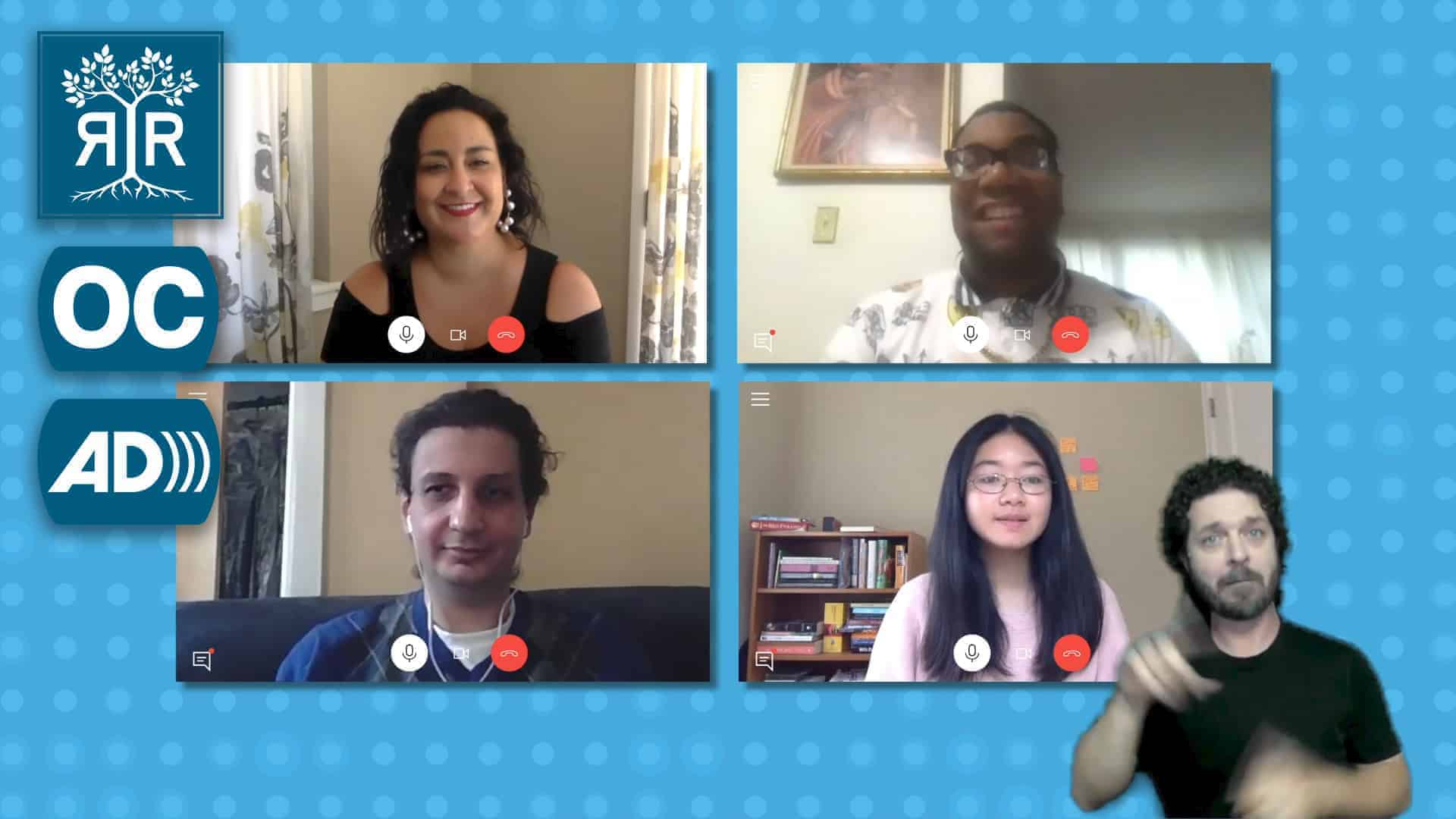 Four people on a video call. An ASL interpreter signs in the lower right corner. Rooted in Rights logo and icons for Open Captions and Audio Description are on the left.