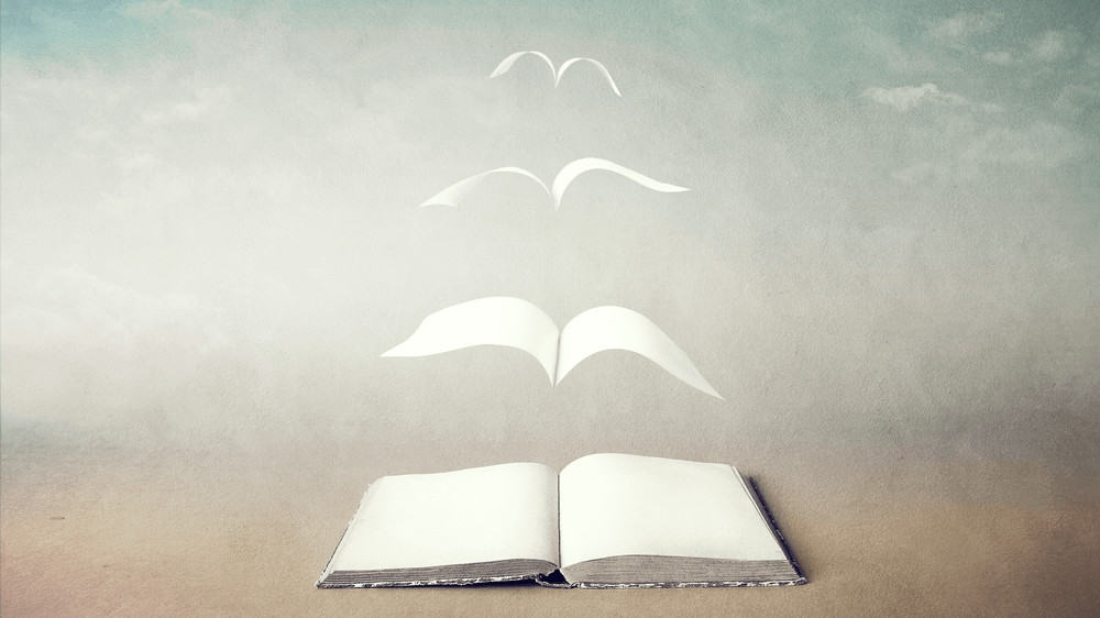 Photo of a book with pages lifting out of it to fly free.