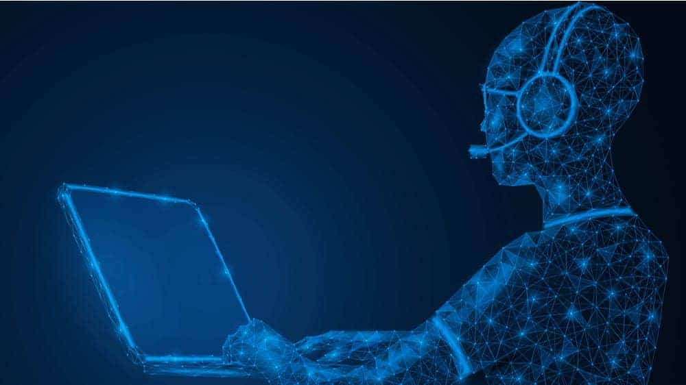 An illustration of a person wearing a headset and typing on a laptop. The person is transparent and has blue connecting lines and dots inside them, indicating being online.