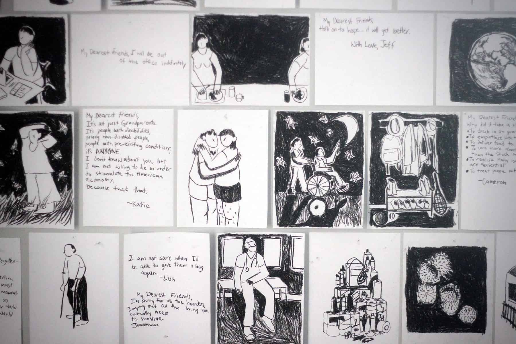 "A white wall is completely covered in 8"" x 10"" abstract charcoal drawings. Some of the imagery includes a microscopic view of COVID-19, a pile of hoarded toilet paper, a doctor, a person using forearm crutches, two people hugging, along with various handwritten notes."