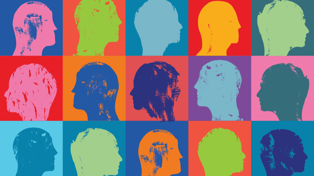 Three rows of outlines of heads, all in different bright colors with different colorful backgrounds