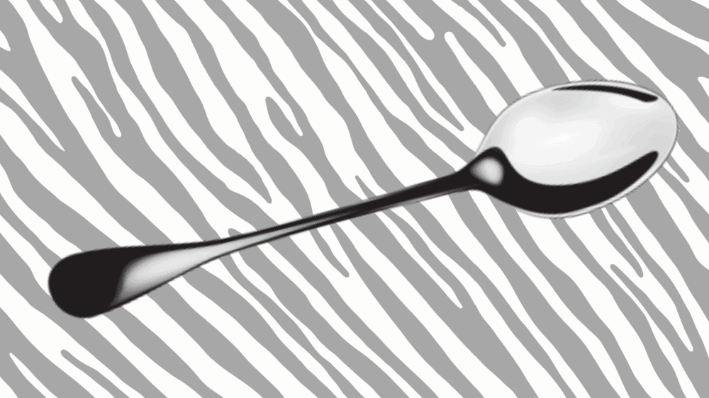 An image of a silver spoon against a zebra print background