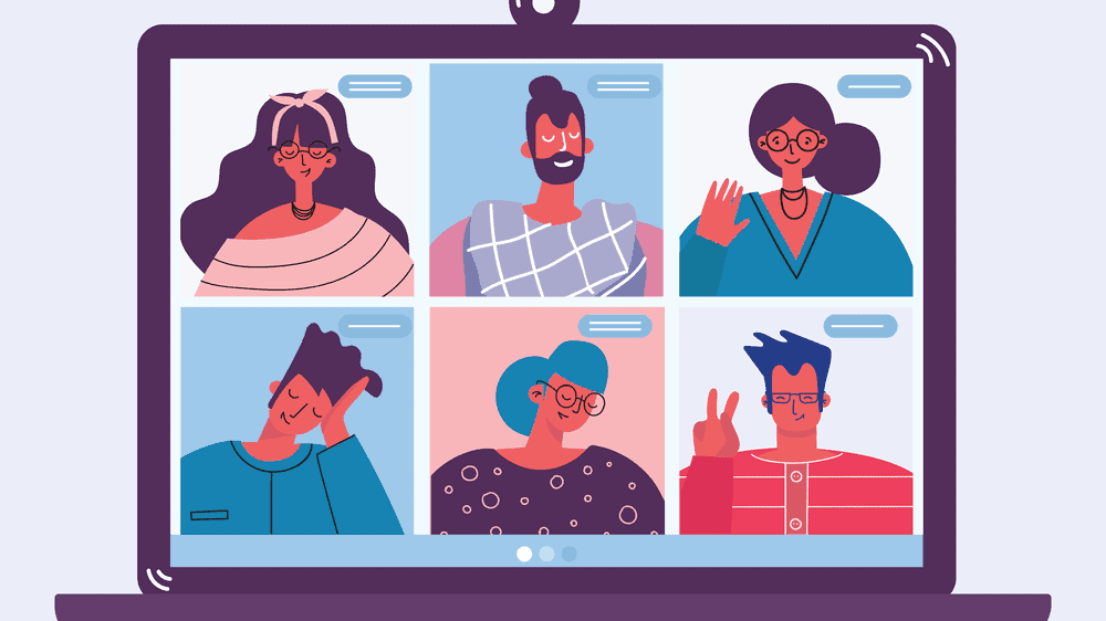 An illustration of a laptop screen with two rows of three people in a video chat. They are all wearing various shades of pink, blue, and purple.