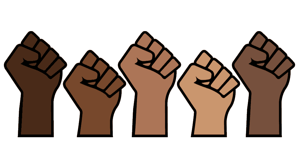 Illustration of a row of Black and Brown fists in the air.